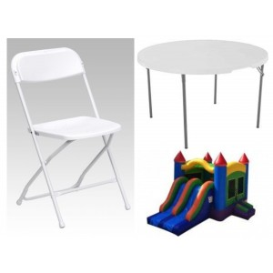 Party Package 2 – Dual Lane Slide, 2 Tables, 16 Chairs 2