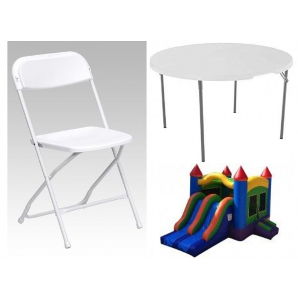 Party Package 2 – Dual Lane Slide, 2 Tables, 16 Chairs