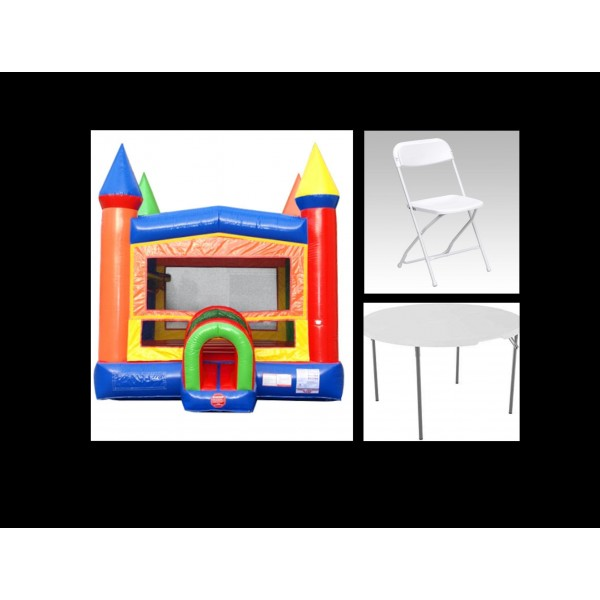 Party Package 1- Bounce House, 2 Tables and 16 Chairs